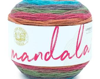 GROOT Lion Brand Mandala Yarn Wt 3 light acrylic variegated machine wash and dry knit crochet fiber art DIY project supply (5762)