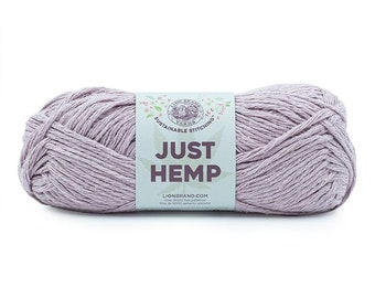 Just Hemp LILAC Lion Brand Yarn Wt 5 bulky 100% Hemp all natural fiber art sustainable supply machine wash dry knit crochet macrame (5947)