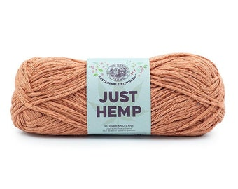 Just Hemp CLAY Lion Brand Yarn Wt 5 bulky 100% Hemp all natural fiber art sustainable supply machine wash dry knit crochet macrame (5945)