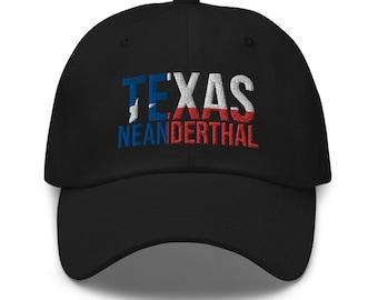 Proud Texan American Neanderthals Anti-Biden Republicans Embroidered Flat Bill Snapback Cap Texas Neanderthal Thinking