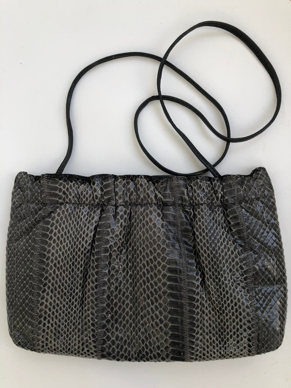 80's gray eel-skin like purse