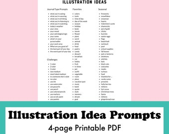 Drawing Prompt Ideas Printable PDF, Illustration Ideas, What to Draw, Stop Art Block