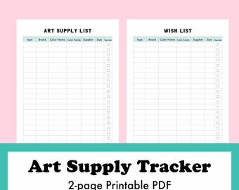 Art Supply Tracker, Inventory List, Printable PDF