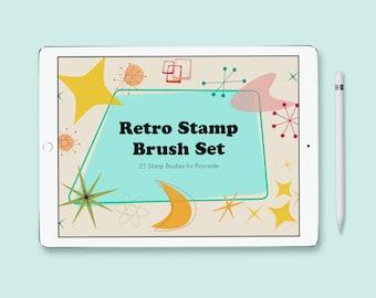 Retro Stamp Brush Set for Procreate, 1950's Inspired, Atomic Starburst Stamps for Digital Illustration on the iPad
