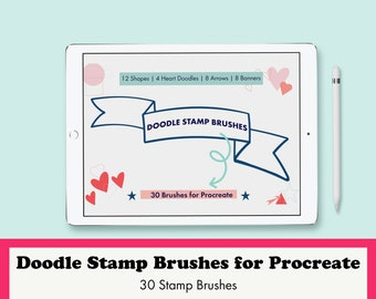 Stamp Brush Set for Procreate: Doodles, Hearts, Shapes and Banners for Illustrating
