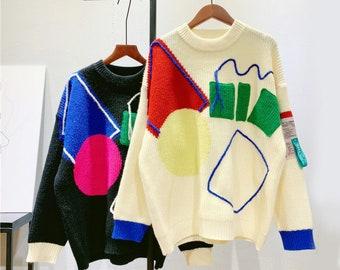 Geometric Loose Knit Sweater Jumper Pullover