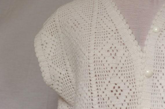 Vintage Crochet Knit Sweater Vest / Cardigan - image 3