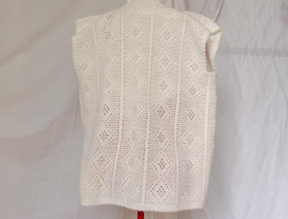 Vintage Crochet Knit Sweater Vest / Cardigan - image 4