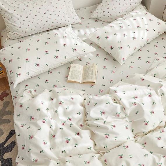 Floral Pink Cotton Duvet Cover Set Fresh Floral Bedding Set | Baby Pink Cute Duvet Cover Set | Twin Full Queen King Duvet Cover Flowers