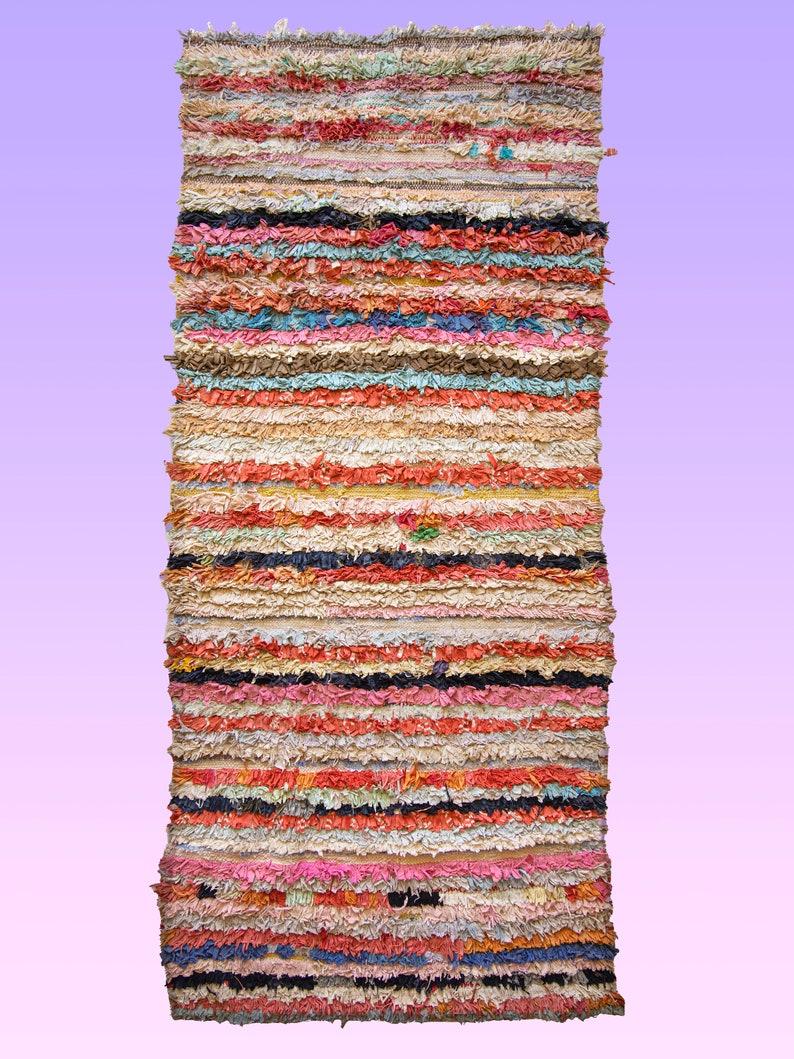 Rag Rug Bohemian Hand Made Boho Rug Moroccan Sustainable Textile Boucherouite Rug Vintage Eco Friendly Rug Multi Color Feliz