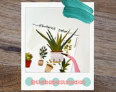 Romaine Calm Kawaii potted plants sticker sheet handmade glossy and matte options perfect for planners, bullet journals, scrapbooks