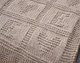Baby Blanket PATTERN only in ENGLISH, Letter E, written instructions with diagram, baby blanket knit pattern