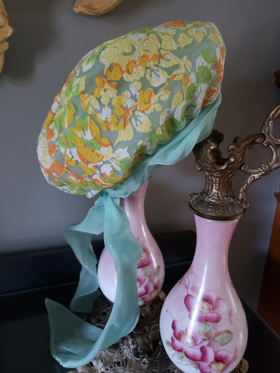 1970s Christian Dior MISS DIOR Floral Hat with ch… - image 2