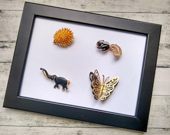 Vintage Animal Brooches, Choose from Hedgehog, Butterfly, Elephant, Skunk Goldtone Lapel Coat Hat Pins, Pretty Letterbox Animal Gift