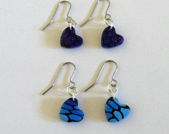 Blue Heart Earrings, Minimalist Heart Earrings, Butterfly Wing Earrings, Letterbox Gift, Small Gifts, Gift Ideas for Her, Sister Gifts