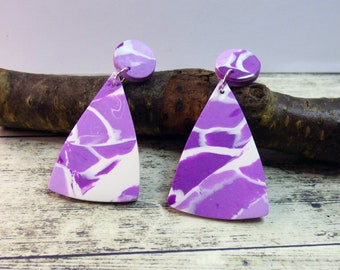 Purple, Lilac and White Clay Polymer Clay Dangle Drop Stud Earrings, Abstract Unique Pattern Letterbox Gift,