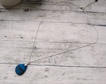 Blue Teardrop Necklace, Polymer Clay Necklace, Unique Necklace for Women, Birthday Present for Mum, Jewellery Letterbox Gift