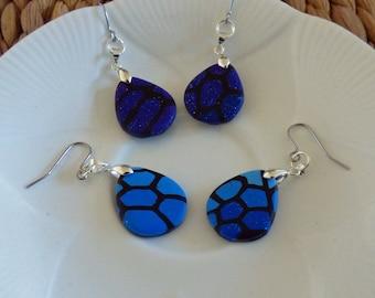 Blue Polymer Clay Dangle Drop Pebble Earrings, Glitter Surgical Steel Earrings, Handmade Teardrop Abstract Pattern,  Letterbox Gift,