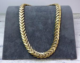 Vintage Sphinx, Gold Tone Necklace, Chevron Herringbone Flat Link Chain, 1960s Jewellery, Signed Sphinx 161, Vintage Designer Jewellery