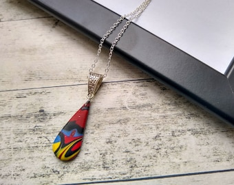 Small Teardrop Pendant, Teardrop Necklace for Friend, Butterfly Print, Birthday Gifts for Sister, Womens Gift Idea, Letterbox Gifts for Mum