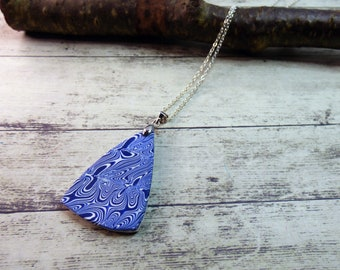 Blue and White Abstract Polymer Clay Pendant Necklace, Rounded Triangle Pendant, Unique Pattern Inspired by Broken Pottery, Letterbox Gift,