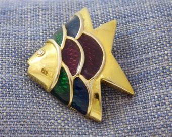 Angelfish Fish Enamelled Brooch Pendant, Fun Statement Animal SeaTropical Ocean Colourful Coat Lapel Pin Jewellery, Vintage Gift