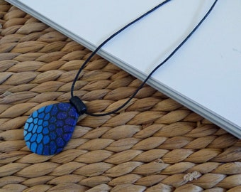 Blue Teardrop Pendant, Polymer Clay Necklace, Adjustable Cord Necklace, Ladies Costume Jewellery, Gifts for Her Uk, Ombre Pattern Pendant