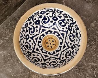 CUSTOMIZABLE Unlacquered Brass Rim Bathroom Sink - Brass & Ceramic Bathroom Vessel - Provide Us With Color And Brass Finish - Handmade Basin