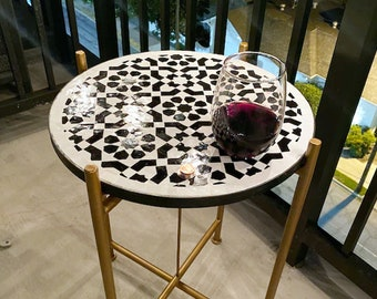 CUSTOMIZABLE Mosaic Table - Crafts Mosaic Table - Black and White Mid Century Mosaic Table - Handmade Coffee Table For Outdoor & Indoor