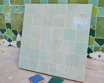 "Tea & Sage Green Terracotta Zellije ""36 50 x 50mm Tiles"", 14"" x 14"" Pannel - Handmade Bathroom Kitchen Tiles Straight Edge Ceramic Tile"