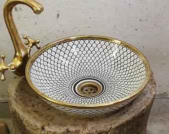 CUSTOMIZABLE Brushed Brass Rim Bathroom Sink - Brass & Ceramic Bathroom Vessel - Provide Us With Color And Brass Finish - Handmade Basin