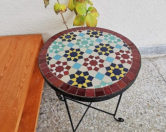 CUSTOMIZABLE Garden Patio Handmade Outdoor Decor Table - Outdoor Indoor - CUSTOM Mid Century Table- Farmhouse Handmade Colorful Artwork