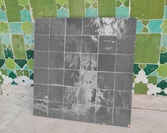 """Lava Light Gray Terracotta Zellije """"36 50 x 50mm Tiles"""" 14"""" x 14"""" Pannel Handmade Bathroom Kitchen Tiles Straight Edge Ceramic Singular Tile"""