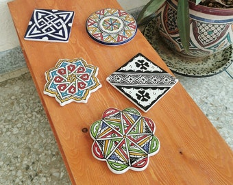 Handmade Ceramic Drink Coasters 6 Set, HandPainted Absorbent Coasters for Drinks ,Stone Style Coaster Set Wooden Table ,Housewarming, Gift