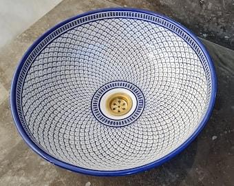 CUSTOMIZABLE Blue & White Ceramic Vessel / Drop In Sink, Bathroom Ceramic Sink Bowl, HandPainted Ceramic Basin, Countertop Vessel sink
