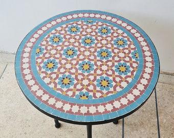 CUSTOMIZABLE Turquoise Mosaic Table - Mosaic Table Art - Mid Century Mosaic Table - Handmade Coffee Table Outdoor & Indoor - Rustic Decor