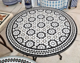 Black & White Kitchen Dining Handmade Decor Table - Outdoor Indoor - CUSTOM Mid Century Table- Farmhouse Handmade Mosaic Artwork