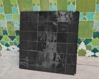 """Coal Black Terracotta Zellije """"36 50 x 50mm Tiles"""" 14"""" x 14"""" Pannel, Handmade Bathroom Kitchen Tiles Straight Edge Ceramic Singular Tile"""