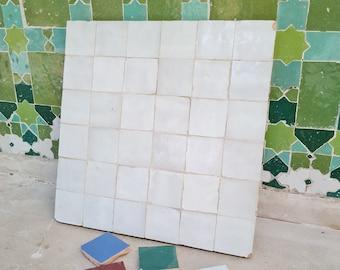 """White Terracotta Zellije """"36 50 x 50mm Tiles"""", 14"""" x 14"""" Pannel - Handmade Bathroom Kitchen Tiles Straight Edge Ceramic Singular Subway Tile"""