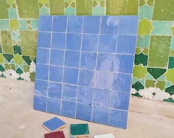 """Royal Blue Cornflower Terracotta Zellije """"36 50 x 50mm Tiles"""", 14"""" x 14"""" Pannel - Handmade Bathroom Kitchen Tiles Straight Edge Ceramic Tile"""