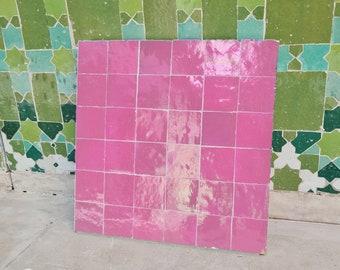 """Rose Pink Terracotta Zellije """"36 50 x 50mm Tiles"""" 14"""" x 14"""" Pannel, Handmade Bathroom Kitchen Tiles Straight Edge Ceramic Singular Tile"""