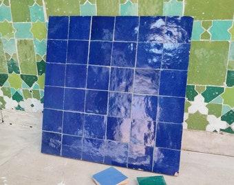 """Blue Terracotta Zellije """"36 50 x 50mm Tiles"""", 14"""" x 14"""" Pannel - Handmade Bathroom Kitchen Tiles Straight Edge Ceramic Singular Subway Tile"""