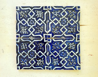 Handpainted Zellige 4x4 Blue Handmade Tiles - CUSTOMIZABLE Tiles for Kitchen Remodeling and Bathroom Projects