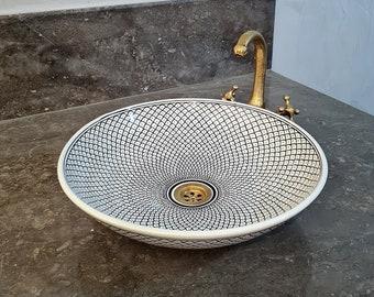 CUSTOMIZABLE Black & White Ceramic Vessel sink, Fish Scales Pattern
