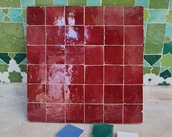 """Red Burgundy Terracotta Zellije """"36 50 x 50mm Tiles"""", 14"""" x 14"""" Pannel - Handmade Bathroom Kitchen Tiles Straight Edge Ceramic Subway Tile"""