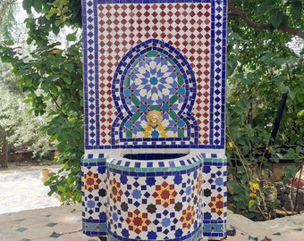 CUSTOMIZABLE Garden Patio Rustic Outdoor Wall Water Fountain - Outdoor Indoor Mid Century Fountain - Mosaic Artwork - Handmade Wall Fountain