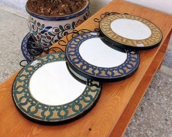 "Mosaic Wall Mirror - Wall Mirror - CUSTOM Round Wall / Floor Mirror - ( Indoors & Outdoors ) Mirror - Handmade Mosaic Mirror 8"" to 20"" Or +"