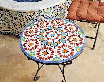 Handmade Outdoor Coffee Table - Complicated Mosaic Pattern multi-colored Table - Bistro Table GIFT