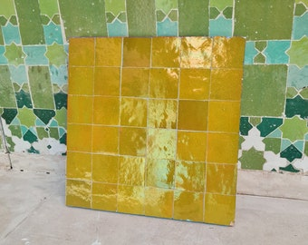 "Mustard Yellow Terracotta Zellije ""36 50 x 50mm Tiles"" 14"" x 14"" Pannel, Handmade Bathroom Kitchen Tiles Straight Edge Ceramic Singular Tile"