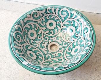 Spring Green Ceramic Basin, Bathroom Ceramic Sink Bowl, HandPainted Ceramic Basin, Bathroom Improvement, Countertop Basin, Drop In Sink